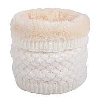 Теплый снуд белый (молочный), вязаный хомут с меховой подкладкой, женский, детский, для девочки, бафф на меху