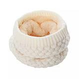 Теплый снуд белый (молочный), вязаный хомут с меховой подкладкой, женский, детский, для девочки, бафф на меху, фото 2