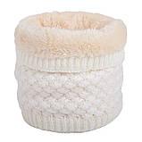 Теплый снуд белый (молочный), вязаный хомут с меховой подкладкой, женский, детский, для девочки, бафф на меху, фото 7