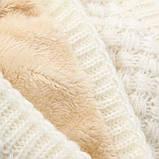 Теплый снуд белый (молочный), вязаный хомут с меховой подкладкой, женский, детский, для девочки, бафф на меху, фото 9