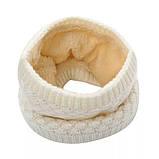 Теплый снуд белый (молочный), вязаный хомут с меховой подкладкой, женский, детский, для девочки, бафф на меху, фото 3