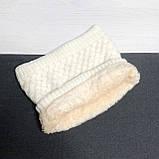 Теплый снуд белый (молочный), вязаный хомут с меховой подкладкой, женский, детский, для девочки, бафф на меху, фото 6