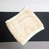 Теплый снуд белый (молочный), вязаный хомут с меховой подкладкой, женский, детский, для девочки, бафф на меху, фото 5