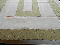 Скатертина для прямокутного столу комбінована Сіро-білий льон 220*140 см
