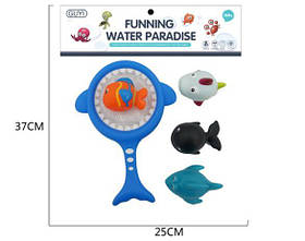 Игрушка G-B012  для купания, акула-сачок, морские животные-пищалка, 3шт, в кульке, 25-35-6см