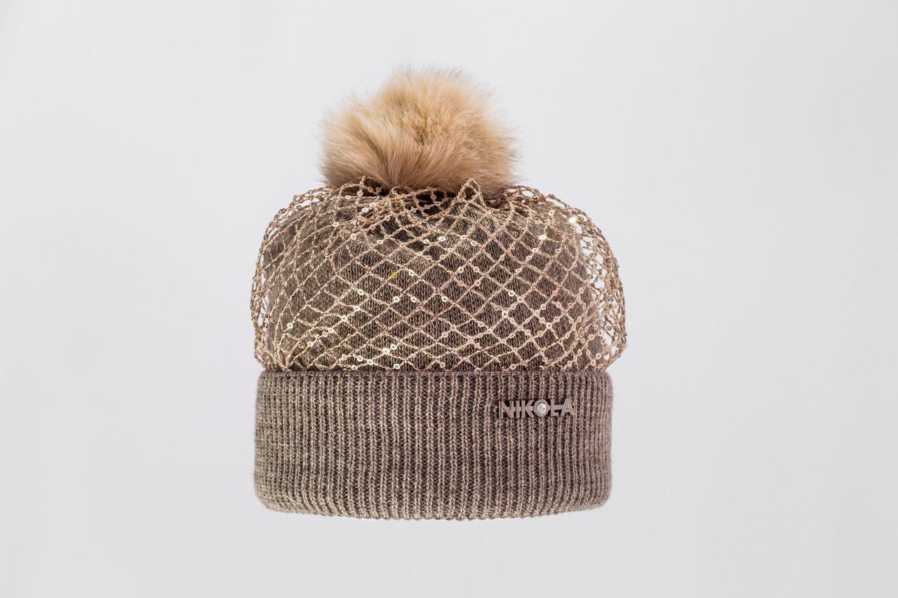 Красивая, стильная, оригинальная вязаная шапка с меховым бумбоном.