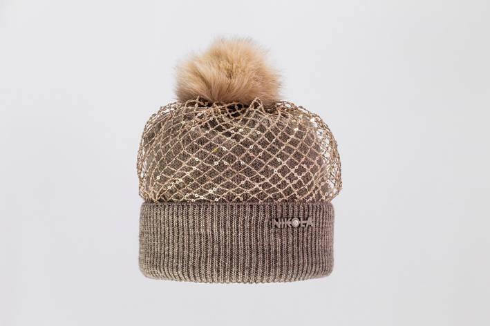 Красивая, стильная, оригинальная вязаная шапка с меховым бумбоном. , фото 2