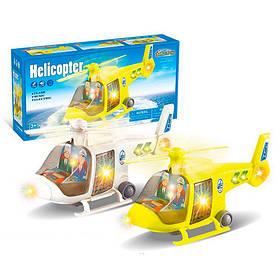 Вертоліт 1093A (72шт) 27см, світло, проектор,їздить,вращ.гвинт,2цвета,на бат-ке,в кор-ке, 28,5-14,5-10см