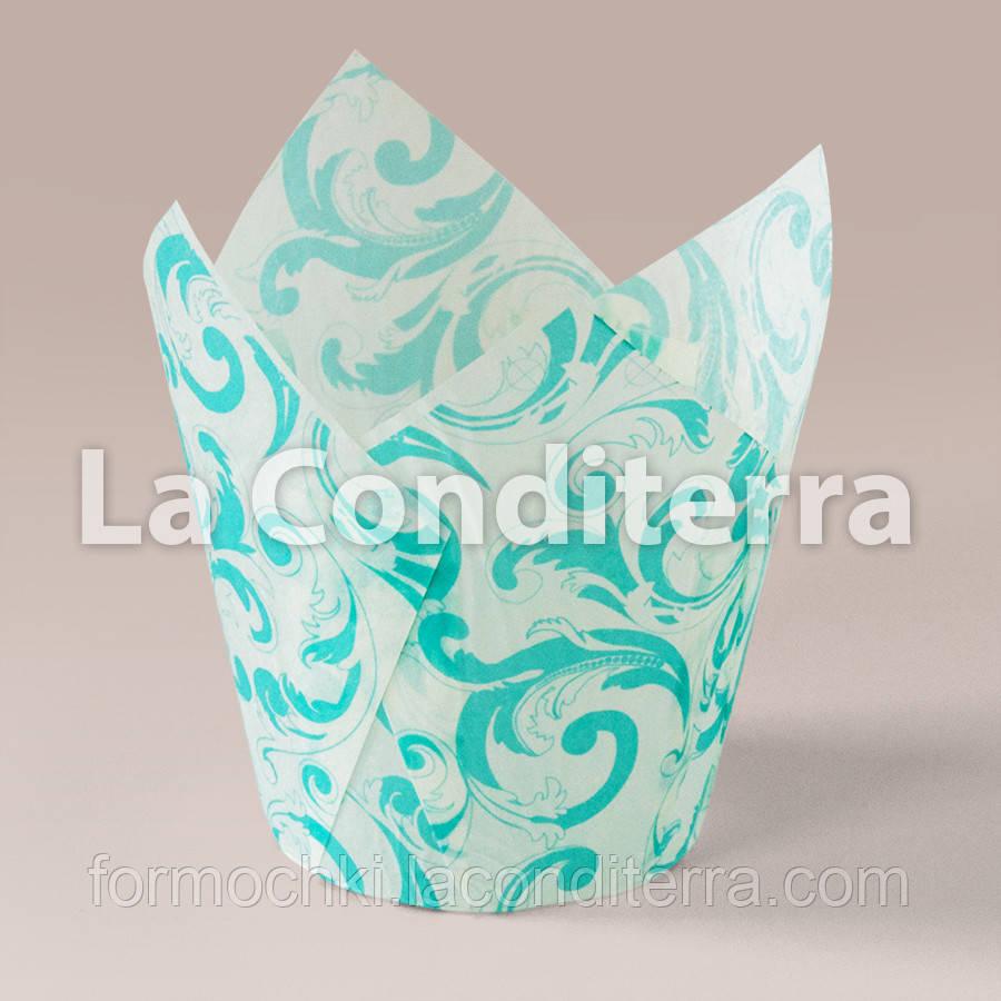 Бумажные формочки для кексов Тюльпан с рисунком Узоры (150 шт., d=35 мм, высота бортика=35/50 мм)