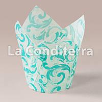 Бумажные формочки для кексов Тюльпан с рисунком Узоры (150 шт., d=35 мм, высота бортика=35/50 мм), фото 1