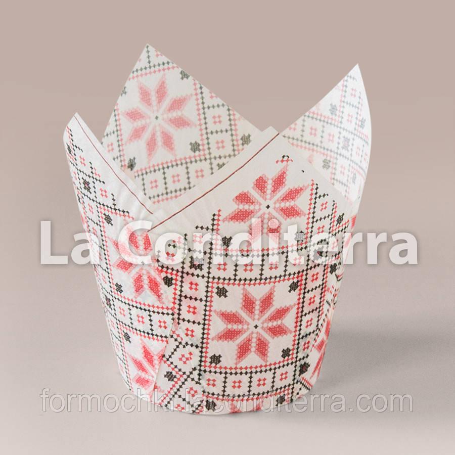 Бумажные формочки для кексов Тюльпан с рисунком Вышиванка (d=50 мм, высота бортика=60/80 мм)
