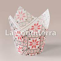 Бумажные формочки для кексов Тюльпан с рисунком Вышиванка (d=50 мм, высота бортика=60/80 мм), фото 1