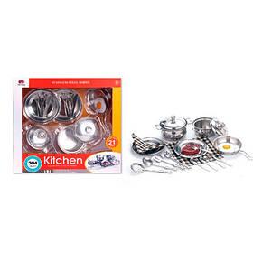 Посуд 555-BX016 (24шт) сковорідки,каструлі,кухонь.набір,прихватки,метал,21пр,в кор-ке,37,5-35-9,5 см