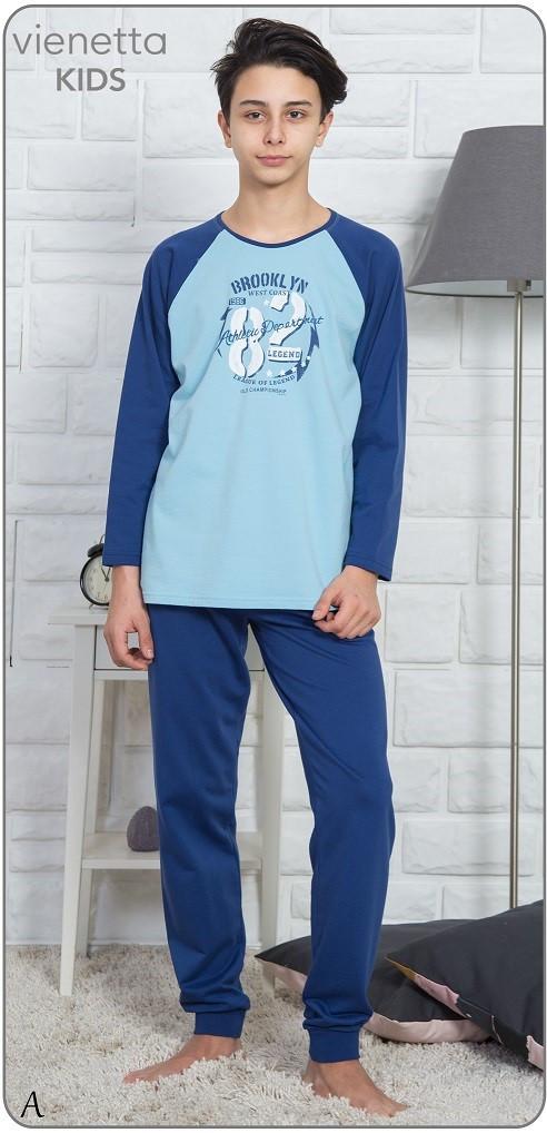 Байковая пижама с принтом Brooklyn 82 для мальчиков на 9-16 лет