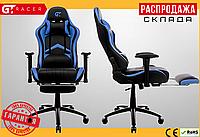 Компьютерное Игровое Кресло Геймерское с Подножкой для Геймера GT Racer X-2534-F Черное / Синее