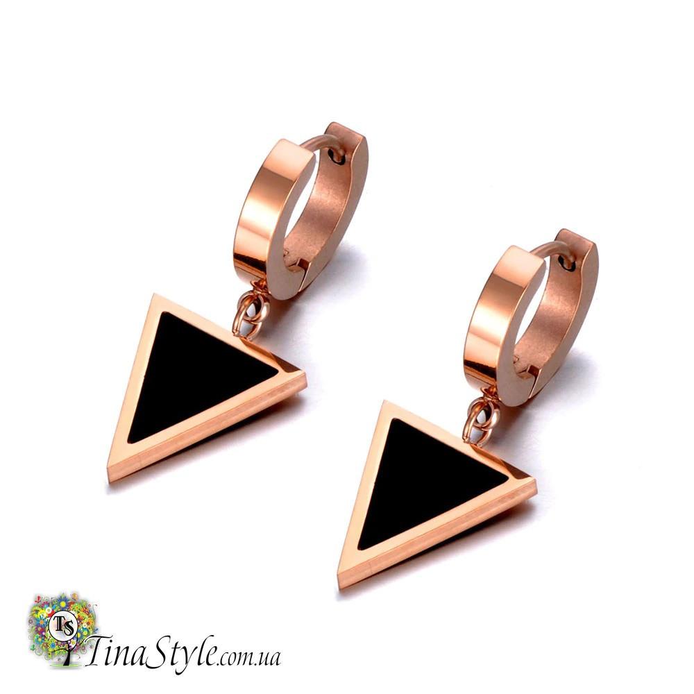 Серьги треугольник под бренд медецинское позолота 18к xuping