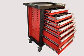 Тележка инструментальная 7-и полочная(красная) укомплектованная инструментом 220пр