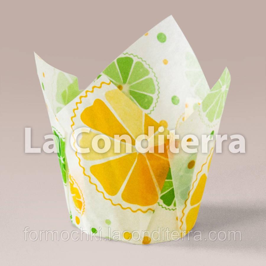 Бумажные формочки для кексов Тюльпан с рисунком Цитрусовые (150 шт., d=35 мм, высота бортика=35/50 мм)
