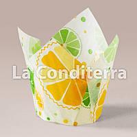 Бумажные формочки для кексов Тюльпан с рисунком Цитрусовые (150 шт., d=35 мм, высота бортика=35/50 мм), фото 1