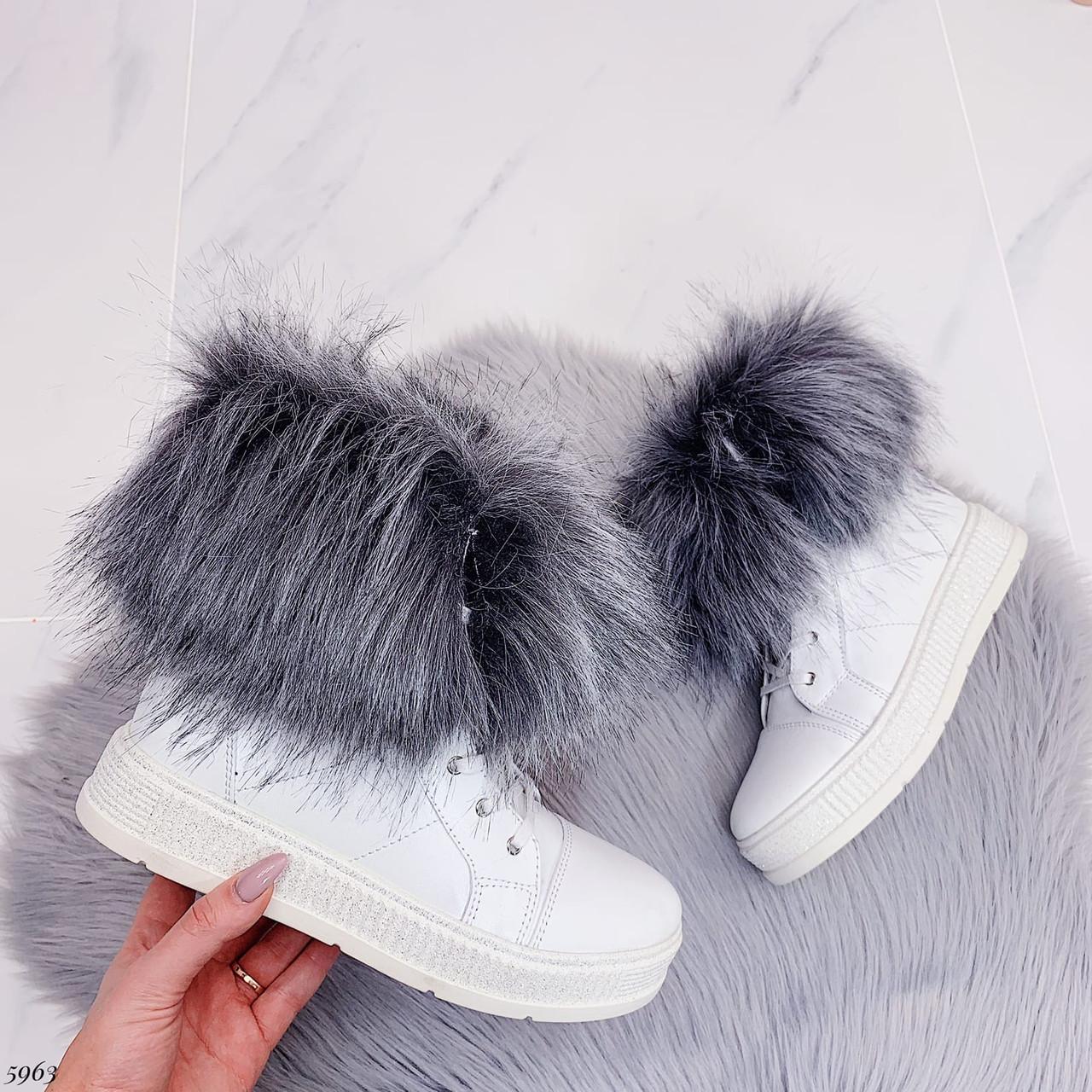 38 р. Ботинки женские зимние белые кожаные на толстой подошве платформе из натуральной кожи натуральная кожа