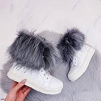 38 р. Ботинки женские зимние белые кожаные на толстой подошве платформе из натуральной кожи натуральная кожа, фото 1