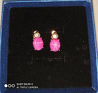 """Яскраві сережки """"Зірка"""" з зірчастим рубіном і сапфірами від студії LadyStyle.Biz, фото 1"""
