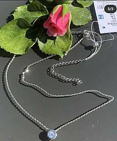 Колье из серебра 925 пробы с цирконием родированное, длинна 45 см с регулировкой Хит