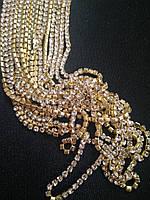 Страхова ланцюг , gold, Crystal SS10 (2,7 мм) 1 ряд. Ціна за 1 м.