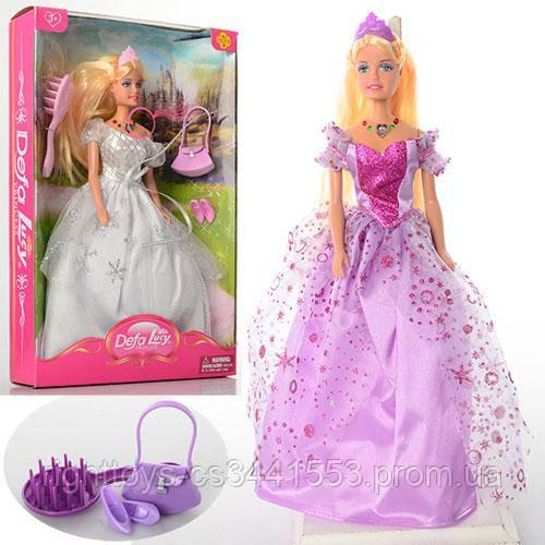 Кукла DEFA 8239 (24шт) 29см, музыка, свет, сумочка, расческа, 2 вида, в кор-ке, 21-32-5,5см