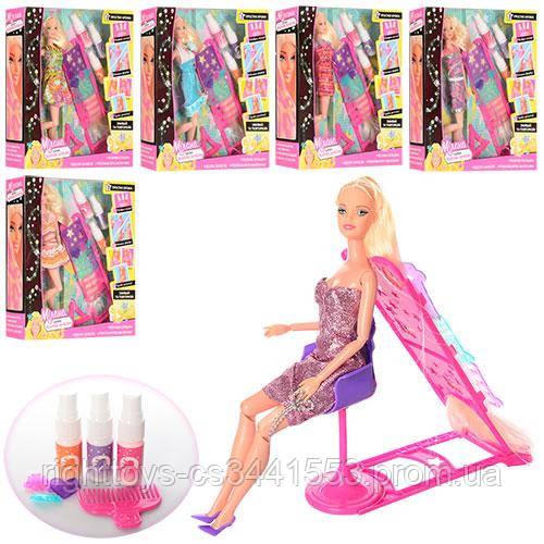 Кукла 66449 (24шт) шарнирн,29см,краска-спрей для окрашив волос,аксессуары,6 видов,в кор-ке,33-31-7см