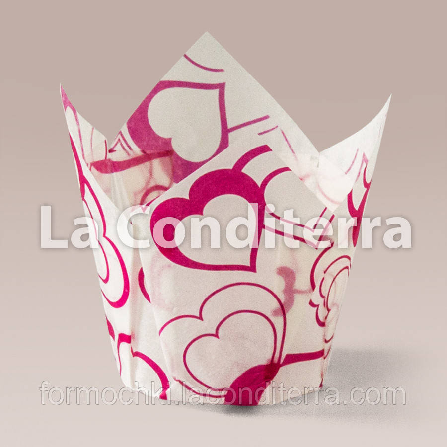 Бумажные формочки для кексов Тюльпан с рисунком Валентинка-3 (150 шт., d=50 мм, высота бортика=50/75 мм)