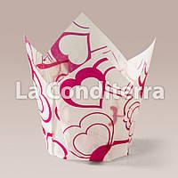 Паперові формочки для кексів Тюльпан з малюнком Валентинка-3 (150 шт., d=50 мм, висота бортика=50/75 мм)