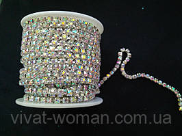Страхова ланцюг срібло Crystal AB, SS12 (3 мм) 1 ряд. Ціна за 1м.