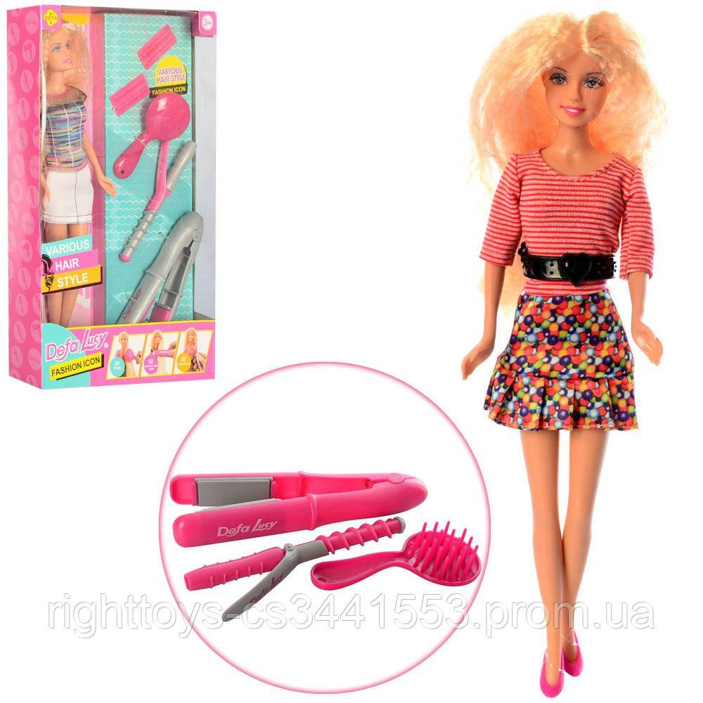 Кукла DEFA 8381-BF (24шт) 30см, набор парикмахера(плойка, расческа), 2вида, в кор-ке, 19-31-5см