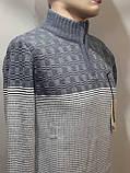 Шерстяной мужской свитер Sunrise воротник стойка Турция синий, фото 3