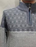 Шерстяной мужской свитер Sunrise воротник стойка Турция синий, фото 7