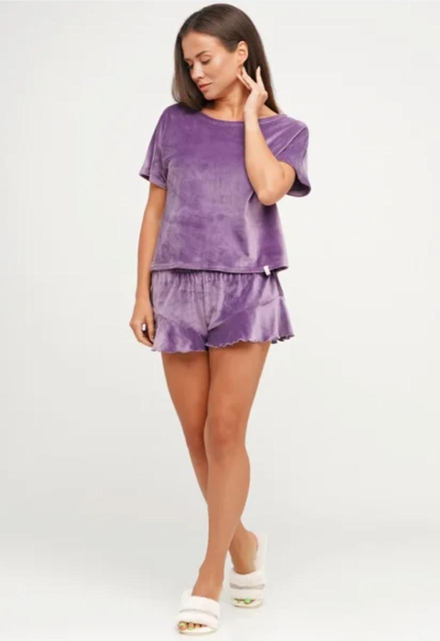 Плюшевая пижама футболка и шорты 46-48
