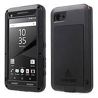 Чехол противоударный Love Mei Gorilla Glass для Sony Xperia Z5 Compact черный