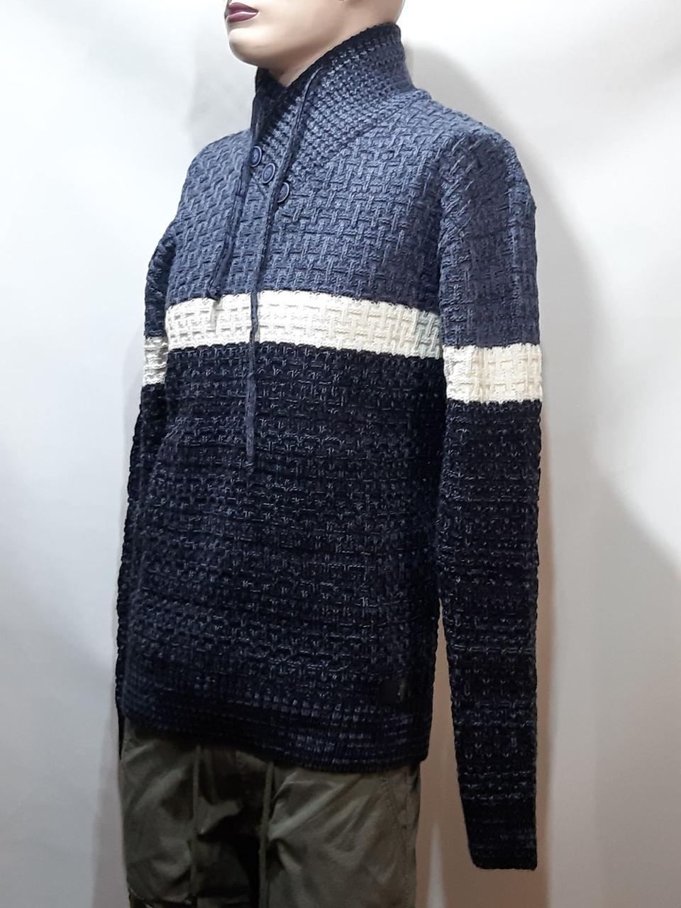 Мужской шерстяной свитер с модным воротником на шнурке Турция Синий (большие размеры)