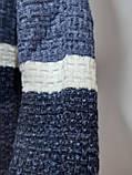 Мужской шерстяной свитер с модным воротником на шнурке Турция Синий (большие размеры), фото 2
