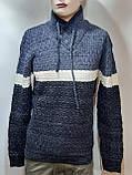 Мужской шерстяной свитер с модным воротником на шнурке Турция Синий (большие размеры), фото 7