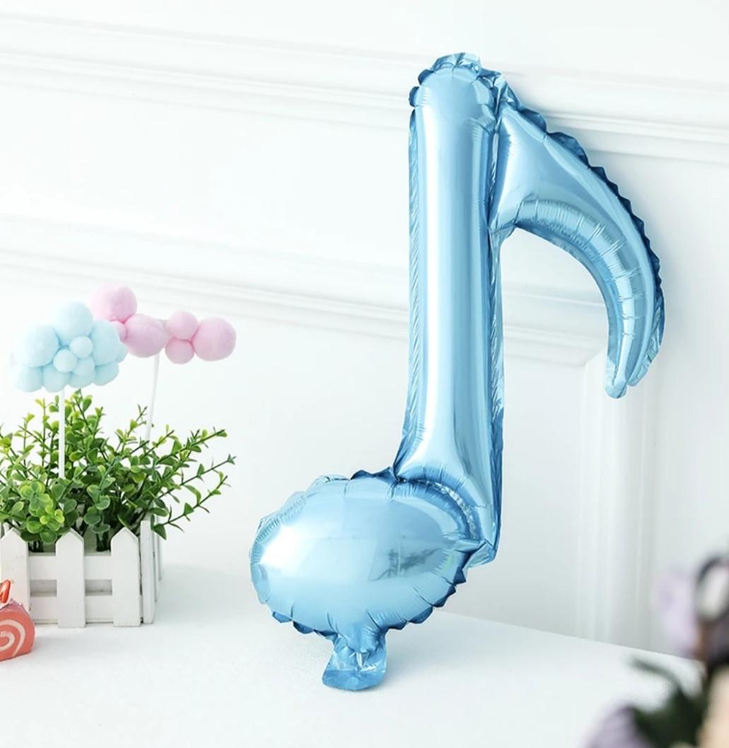 Фольгированный шар мини фигура музыкальная нота голубая  41 см