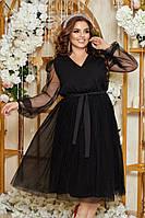 Женское вечернее платье с пышной юбкой до колена под пояс однотонное черное, бежевое в больших размерах 48-58