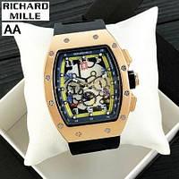 Часы мужские женские механика с автоподзаводом золотые черные Richard Mille Automatic Gold-Black 1068-0003 R