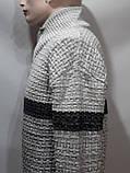 Шерстяной мужской свитер с модным воротником на шнурке Турция Светло-серый (большие размеры), фото 4