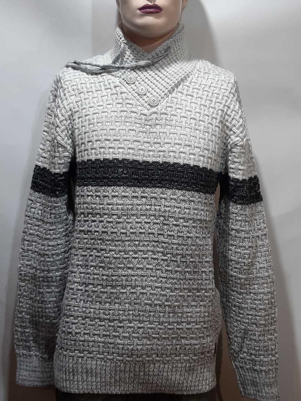 Шерстяной мужской свитер с модным воротником на шнурке Турция Светло-серый (большие размеры)