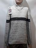 Шерстяной мужской свитер с модным воротником на шнурке Турция Светло-серый (большие размеры), фото 8