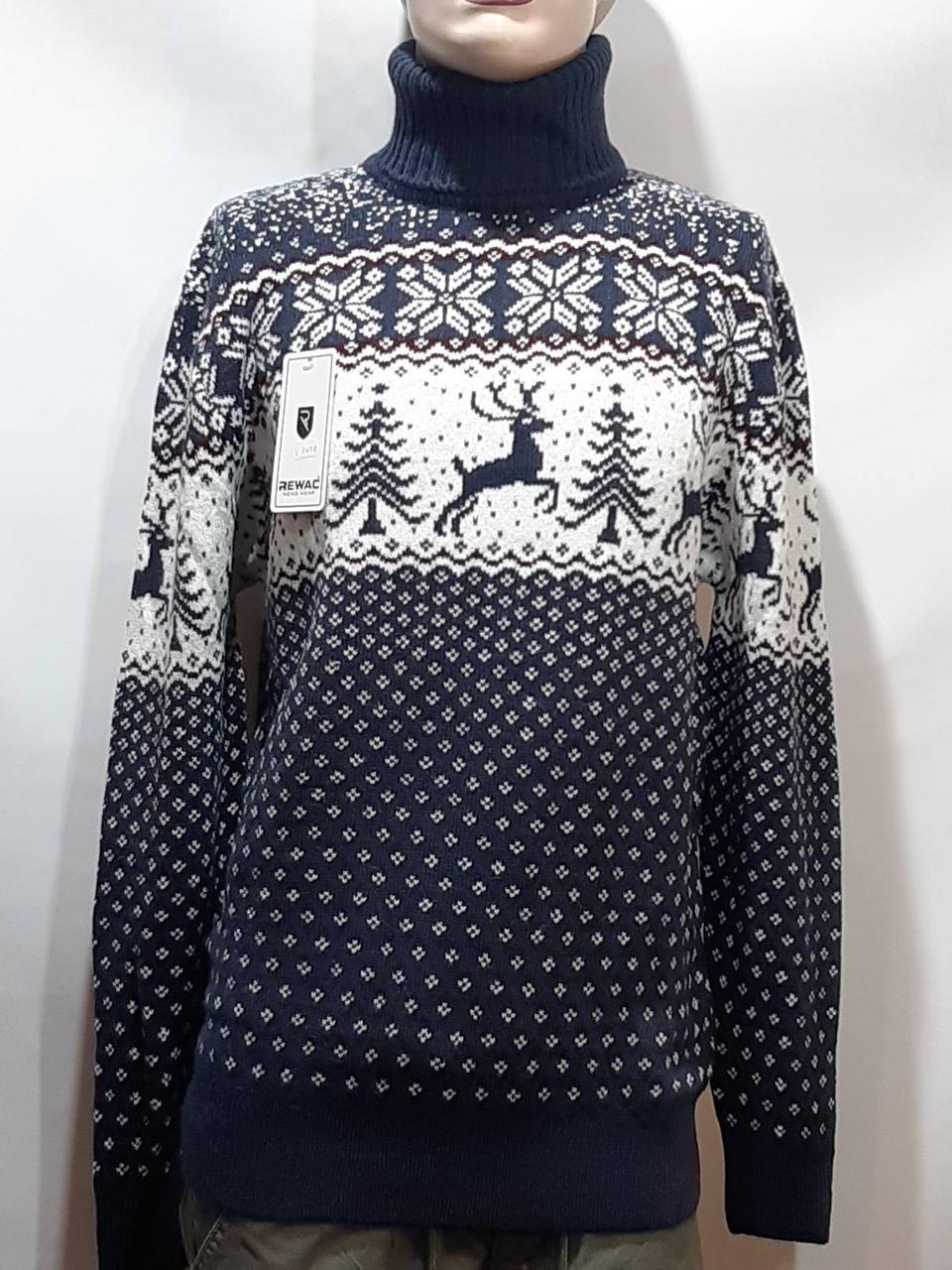 Шерстяной мужской свитер с оленями Rewac под горло Турецкий качественный гольф Темно-синий