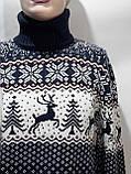 Шерстяной мужской свитер с оленями Rewac под горло Турецкий качественный гольф Темно-синий, фото 6
