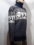 Шерстяной мужской свитер с оленями Rewac под горло Турецкий качественный гольф Темно-синий, фото 5
